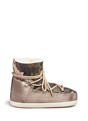 Inuikii 'Camouflage' Print Sheepskin Shearling Moon Boots Multi Colour