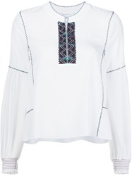 Derek Lam 10 Crosby Embroidered Smock Sleeve Blouse White