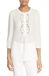 Kate Spade Women's New York Embroidered Inset Silk Top Cream