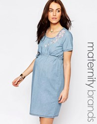 Mama Licious Mamalicious Denim Shift Dress With Embroidery Blue