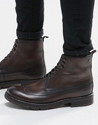Base London Valiant Lace Up Leather Boots Brown