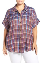 Lucky Brand Plus Size Women's Plaid Short Sleeve Shirt Multi