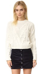 J.O.A. Cable Crew Sweater Ivory