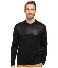 Calvin Klein Long Sleeve Solid Mix Media Ponte Shirt Black Men's Long Sleeve Pullover