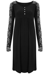 Nougat London Rose Lace Sleeve Dress Black
