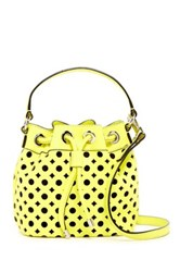 Milly Perforated Leather Bucket Bag Green