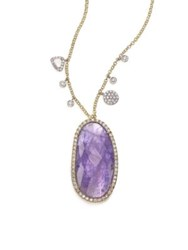 Meira T Tanazanite Mother Of Pearl Diamond And 14K Yellow Gold Doublet Pendant Necklace