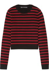 Marc By Marc Jacobs Cropped Stretch Wool Blend Sweater Red