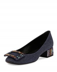 Roger Vivier Belle De Nuit Denim 35Mm Pump Dark Blue Multi