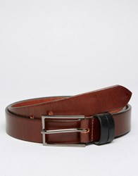 Asos Leather Belt With Contrast Keepers Brown