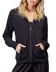 Zobha Quilted Panel French Terry Sweatshirt Black
