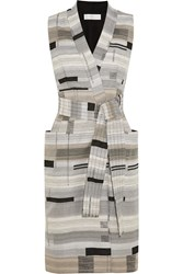 Victoria Beckham Wrap Front Jacquard Dress Gray