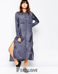 Native Youth Satin Touch Maxi Shirt Dress Slate Grey