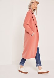 Missguided Longline Faux Wool Duster Coat Pink Rose