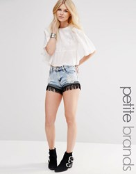Glamorous Petite Acid Wash Fringed Hem Denim Shorts Blue