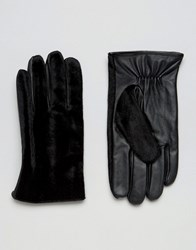 Asos Leather Gloves With Faux Pony Skin In Black Black