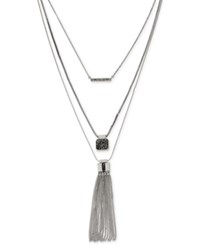 Kenneth Cole New York Silver Tone Convertible Pave And Tassel Layer Necklace