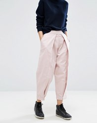 Asos White Mom Jeans With Front Pleat Detail Dusty Pink