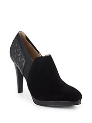 Saks Fifth Avenue Darla Suede And Leather Gore Zip Booties Black
