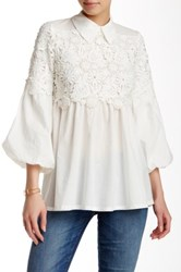 Ryu Blouson Sleeve Lace Yoke Blouse White