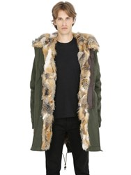 Mrandmrs Italy Fox Fur Lined Cotton Canvas Parka