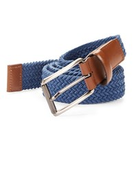 Perry Ellis Woven Leather Trim Belt Blue