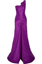 Roland Mouret Abbess One Shoulder Pleated Matelasse Gown Purple