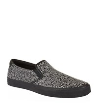 Kenzo Flying Logo Print Slip Ons Male Black