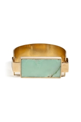 Aesa Bronze Handmade Reeve Cuff With Chrysophase Block