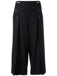 Cedric Charlier Wide Leg Cropped Trousers Blue