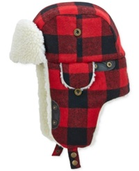 Woolrich Buffalo Check Aviator Hat With Fleece Lining Red