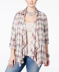 American Rag Trendy Plus Size Plaid Draped Cardigan Only At Macy's