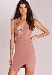 Missguided Sleeveless V Plunge Chain Bust Detail Mini Dress Pink Pink