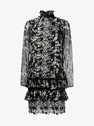 Giambattista Valli Floral Macrame Silk Mini Dress Black Multi Coloured White