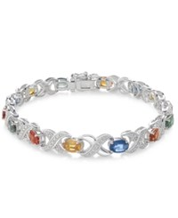 Macy's Multi Sapphire 8 Ct. T.W. And Diamond Accent Link Bracelet In Sterling Silver White Gold