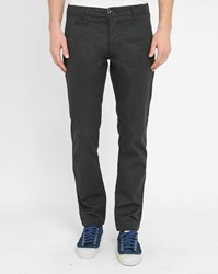 Knowledge Cotton Apparel Dark Grey Twisted Twill Pr Slim Fit Chinos
