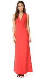 Alexander Wang Crepe Exposed Back Maxi Dress Cherry