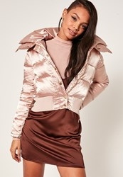 Missguided Peach Pink Satin Short Puffa Jacket Champagne