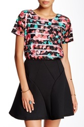 Romeo And Juliet Couture Multi Print Crop Top Black