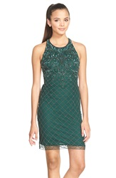 Sean Collection Embellished Mesh Sheath Dress Forest