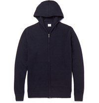 Sunspel Cashmere Zip Up Hoodie Blue