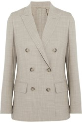 Max Mara Galea Double Breasted Stretch Wool Blazer Beige
