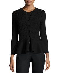 Carolina Herrera Lace Inset Button Front Peplum Cardigan Black