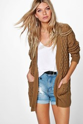 Boohoo Cable Cardigan With Pockets Camel