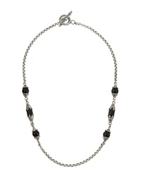 Konstantino Silver And Onyx Bead Station Necklace Women's