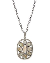 Silver Labradorite And Diamond Mandala Pendant Necklace Siena Jewelry Red