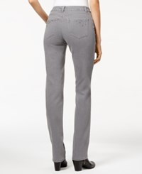 Charter Club Petite Lexington Embellished Straight Leg Jeans Only At Macy's Pearl Grey Wash