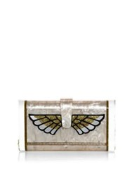 Edie Parker Wing Acrylic Clutch Nude