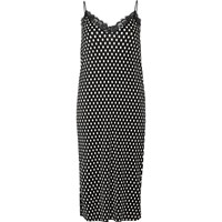 River Island Womens Black Polka Dot Lace Trim Cami Midi Dress