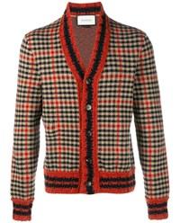 Gucci Check Wool Cashmere Blend Cardigan Navy Red Beige Pearl Black Indigo